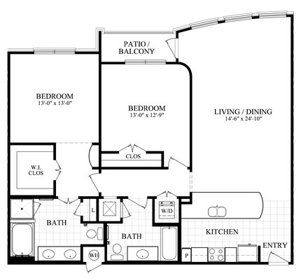 1,343 sq. ft. K floor plan