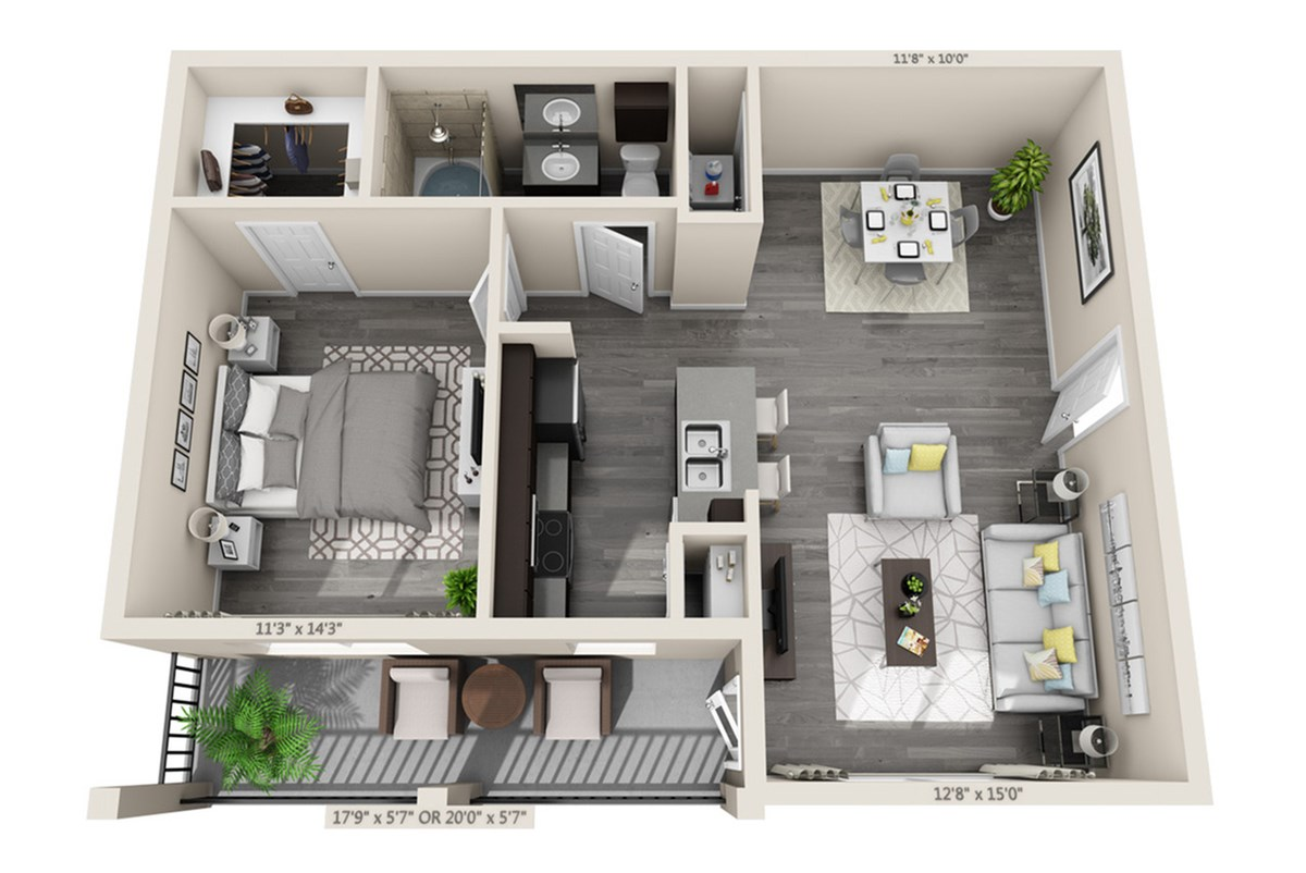 726 sq. ft. Coral floor plan