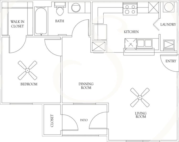 680 sq. ft. A1 60% floor plan