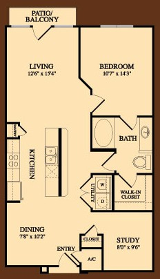 950 sq. ft. Continental floor plan
