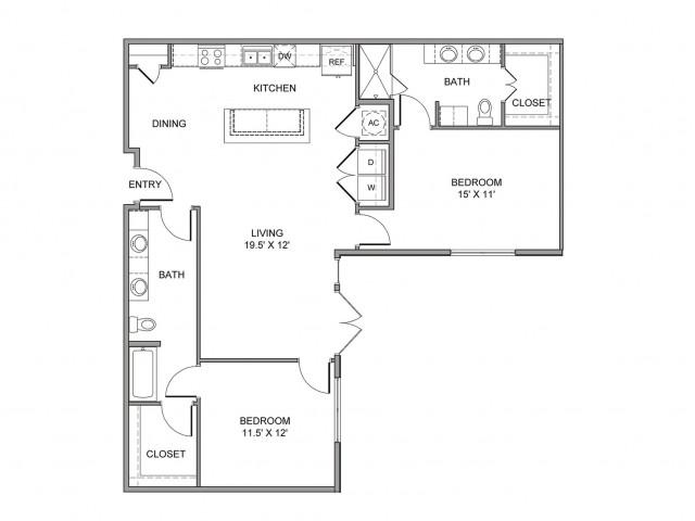 1,237 sq. ft. Jackson floor plan