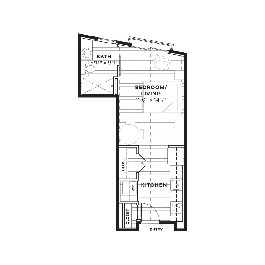 378 sq. ft. E4 floor plan