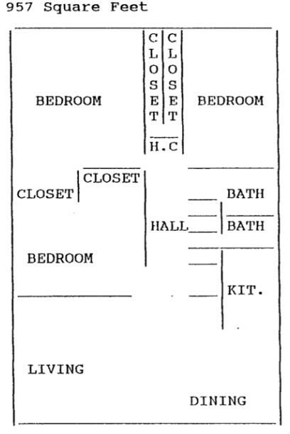 957 sq. ft. 50% floor plan