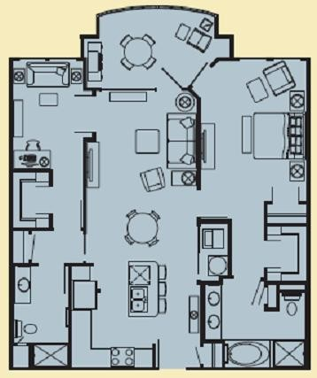 1,076 sq. ft. G1 floor plan
