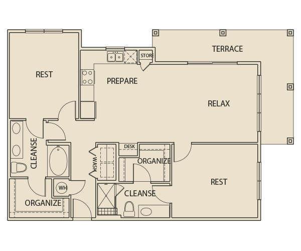 1,317 sq. ft. B3T floor plan