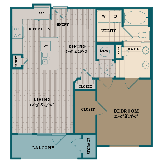 786 sq. ft. A4 floor plan