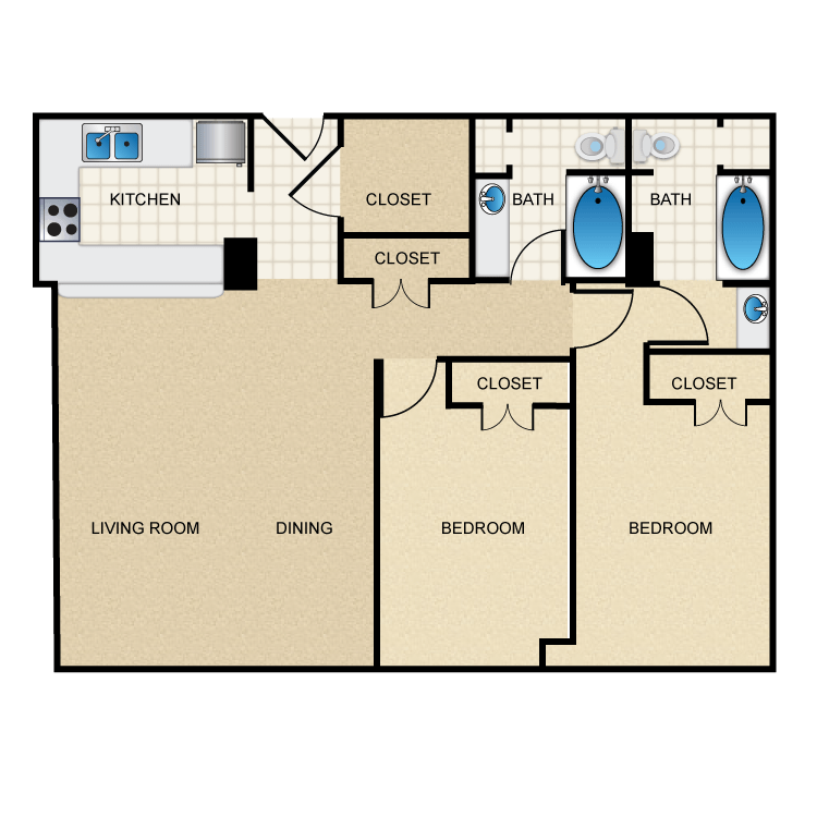 1,066 sq. ft. B2 floor plan
