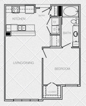 711 sq. ft. to 755 sq. ft. B floor plan