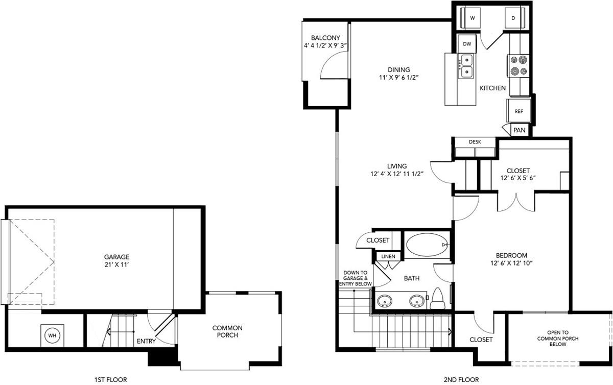 874 sq. ft. A3 floor plan