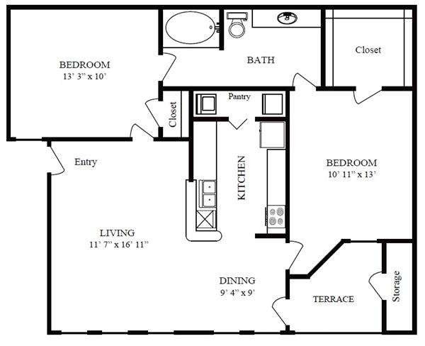 826 sq. ft. A/Bolivar Beach floor plan