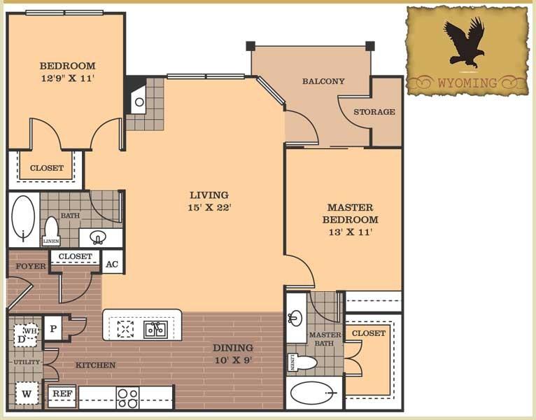 1,225 sq. ft. Wyoming floor plan
