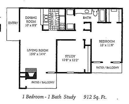912 sq. ft. A5 floor plan