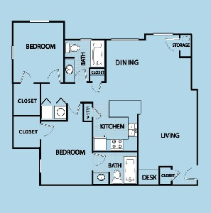 1,050 sq. ft. BL floor plan