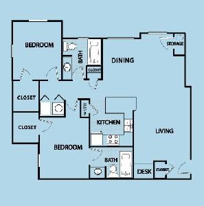 1,050 sq. ft. BL floor plan