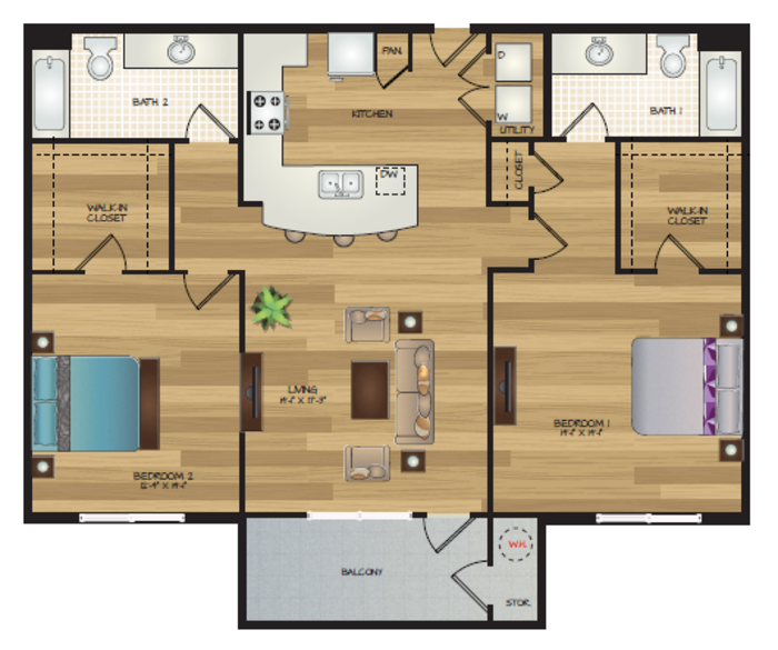 1,165 sq. ft. B1 floor plan