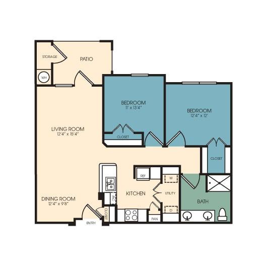 950 sq. ft. Westminster floor plan