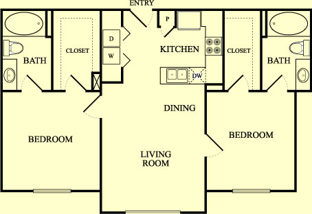 925 sq. ft. Nightingall/60% floor plan