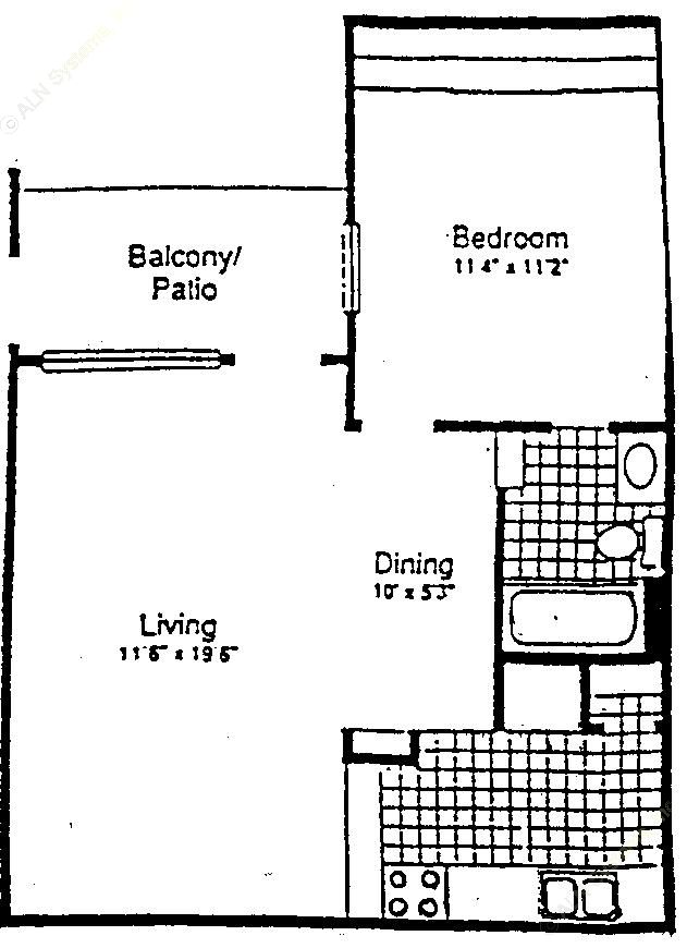 624 sq. ft. A-1 floor plan