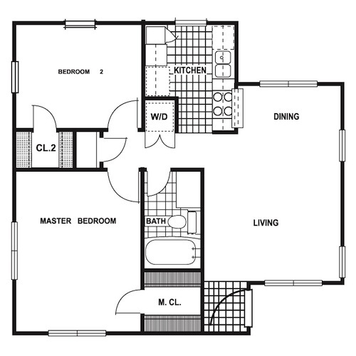740 sq. ft. floor plan