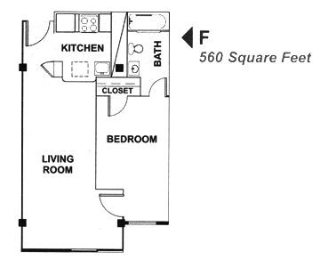 560 sq. ft. F floor plan