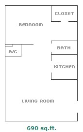 690 sq. ft. floor plan