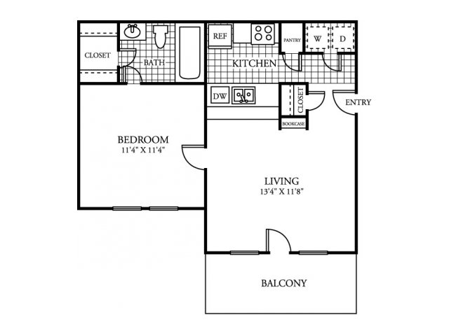 509 sq. ft. A1 floor plan