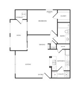 676 sq. ft. A1 floor plan