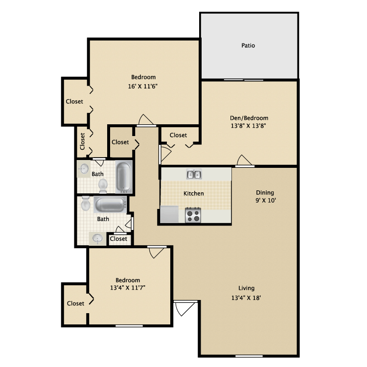 1,400 sq. ft. C floor plan