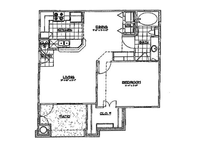 718 sq. ft. A 60 floor plan