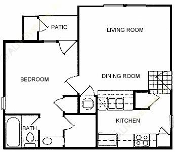 577 sq. ft. B floor plan