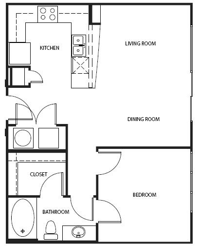 696 sq. ft. 3A0AH floor plan