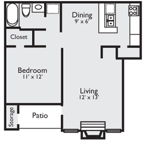 680 sq. ft. 1B floor plan