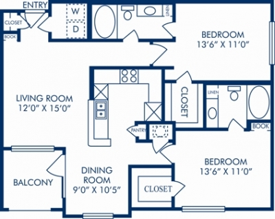 1,056 sq. ft. M floor plan