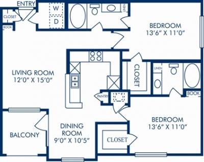 1,056 sq. ft. M floor plan