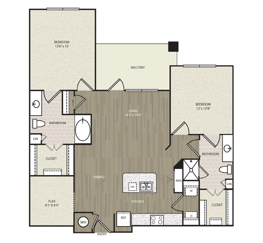 1,209 sq. ft. B9 floor plan