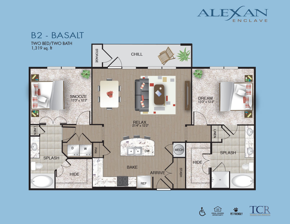 1,319 sq. ft. B2 floor plan