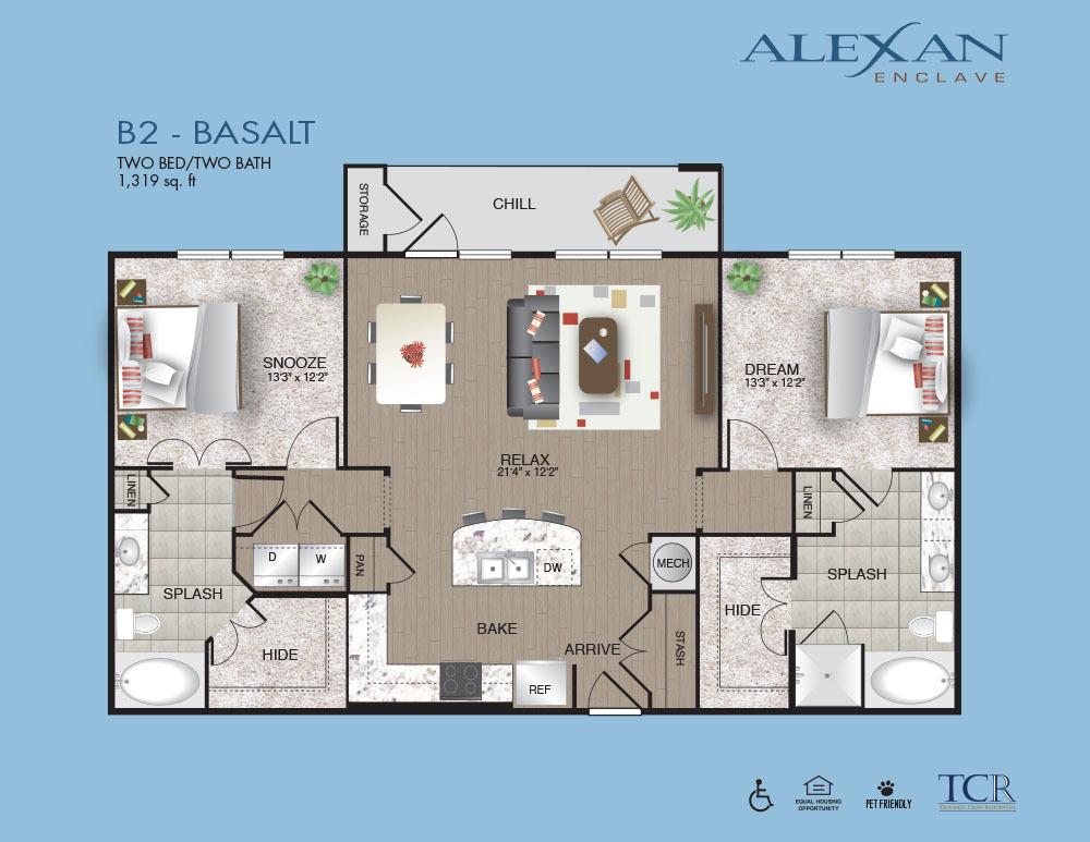 1,319 sq. ft. Basalt floor plan