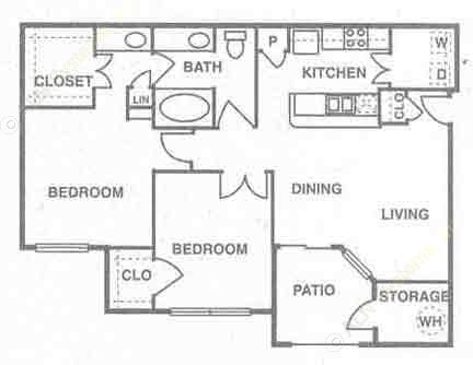 1,000 sq. ft. to 1,086 sq. ft. Cayman floor plan