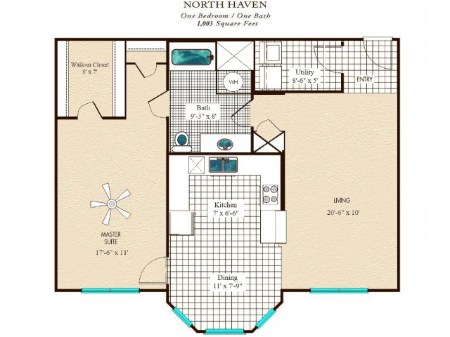 1,003 sq. ft. floor plan