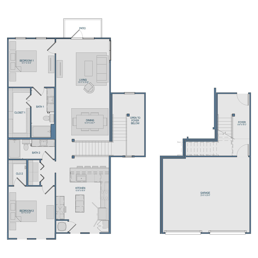 1,544 sq. ft. B12 floor plan