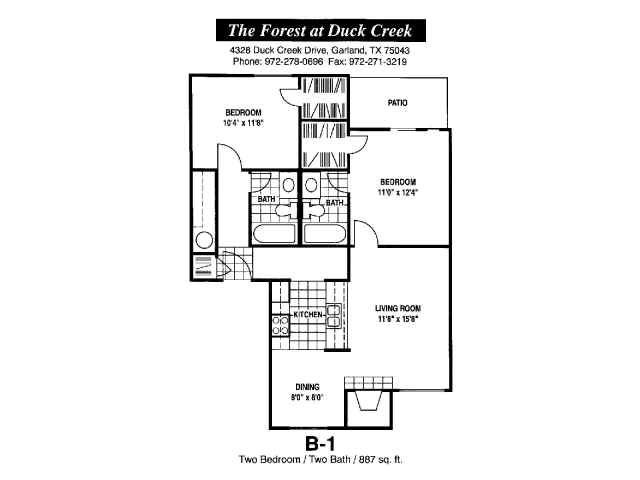 887 sq. ft. B-1 floor plan