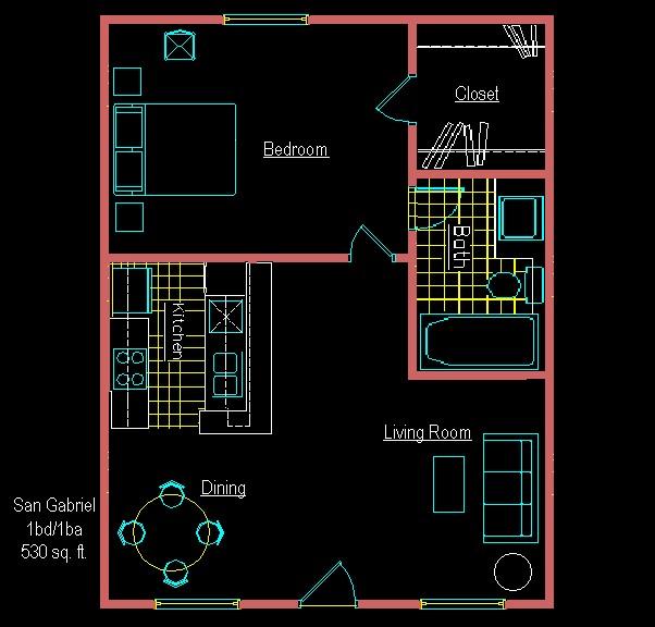 530 sq. ft. E floor plan