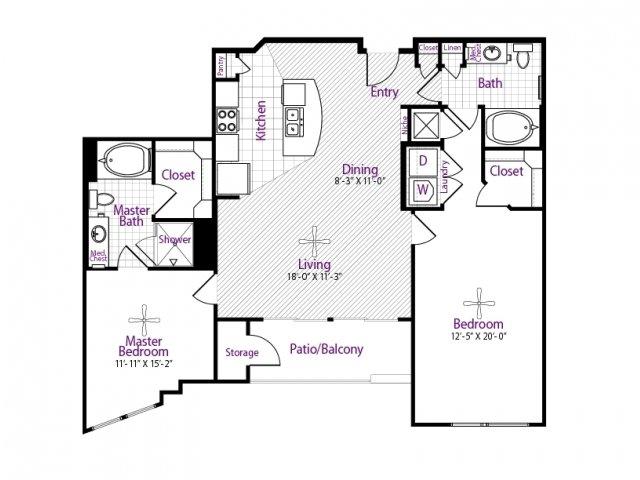 1,229 sq. ft. floor plan