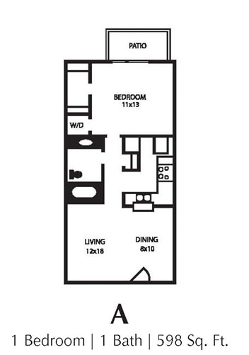 598 sq. ft. A floor plan