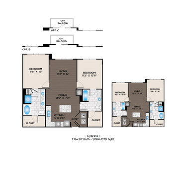 1,084 sq. ft. to 1,107 sq. ft. Cypress II floor plan