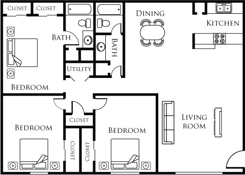 1,254 sq. ft. 32A floor plan