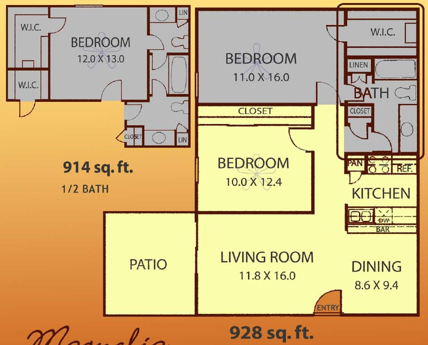 914 sq. ft. MAGNOLIA floor plan