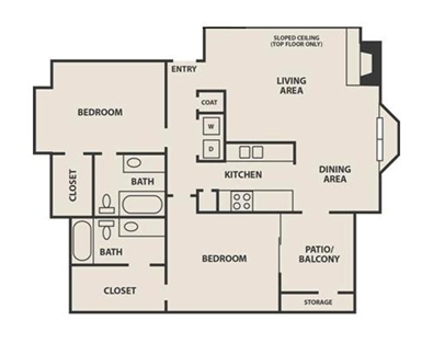 1,086 sq. ft. B2 floor plan