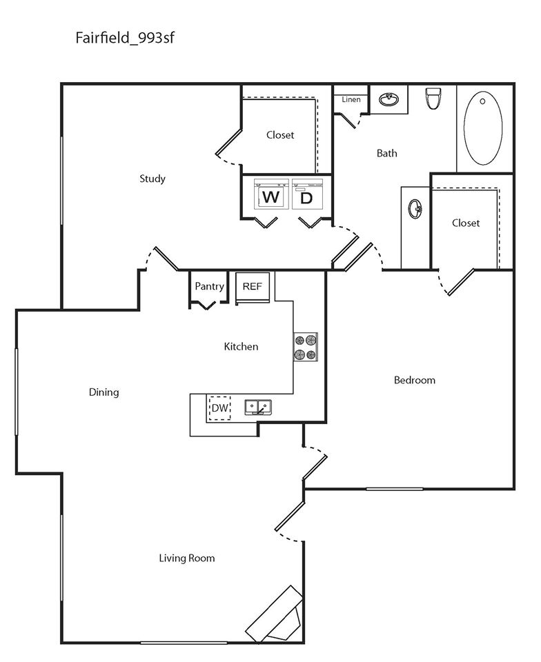993 sq. ft. Fairfield floor plan