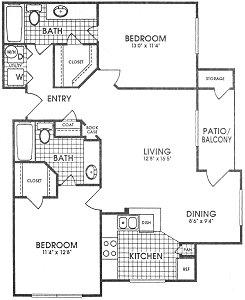 995 sq. ft. Belmont floor plan